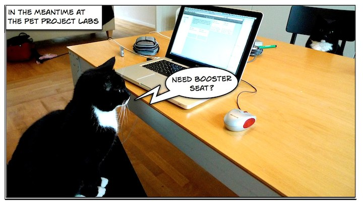 In the meantime at the Pet Project Labs ... 'Need a booster seat?'
